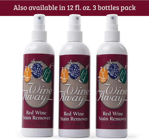 Wine Away Red Wine Stain Remover - Perfect Fabric Upholstery and Carpet Cleaner Spray Solution - Removes Wine Spots - Spray and Wash Laundry to Vanish Stain - Wine Out - Zero Odor - 2 Ounce, Set of 3