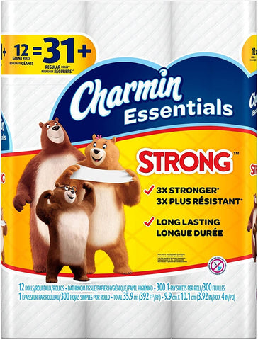 Image of Charmin Essentials Strong Toilet Paper, Bath Tissue, Giant Roll, 12 Count