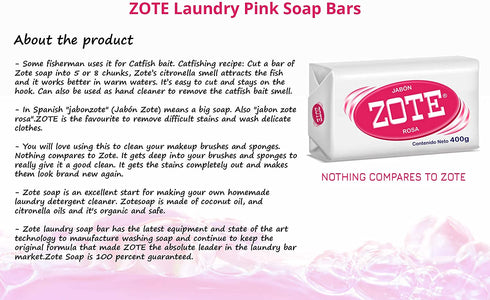 Zote Laundry Soap Bar, Stain Remover Laundry Detergent for Clothes, Catfish Bait, Super Washing Travel Jabon Para Lavar Ropa, Pink Underwear Clothes Washing Soap (400 grams), Pack of 2
