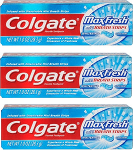 Colgate Max Fresh Toothpaste Fluoride Mini Breath Strips Cool Mint 1 oz Travel Size ( Pack of 3)
