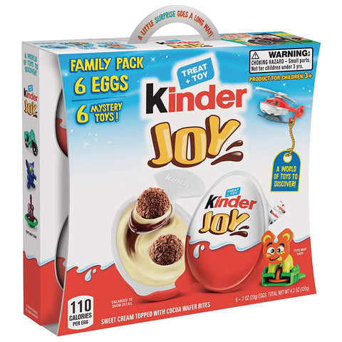 Image of Kinder JOY Eggs, 6 Pack Individually Wrapped Chocolate Candy Eggs With Toys Inside, Perfect Surprise Halloween Treats for Kids, 4.2 oz