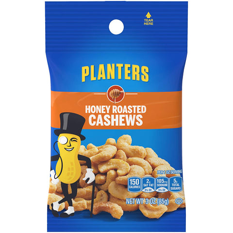 Image of Planters Honey Roasted & Salted Cashews (3oz Bag, Pack of 6)