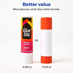 Avery Glue Stic White, 0.26 oz., Washable, Nontoxic, Permanent Adhesive, 1 Glue Stick (00166)