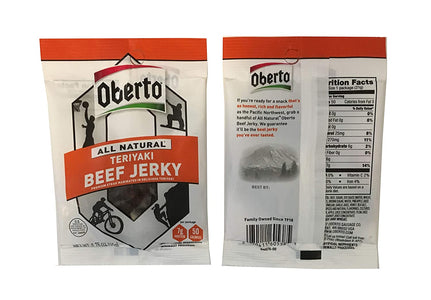 Oberto All Natural Beef Jerky - Original and Teriyaki Beef Jerky .75 oz Snack Size (6 Pack)