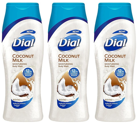 Image of Dial Moisturizing Body Wash - Coconut Milk - 12 HR Moisture Release - Net Wt. 16 FL OZ (473 mL) Per Bottle - Pack of 3 Bottles