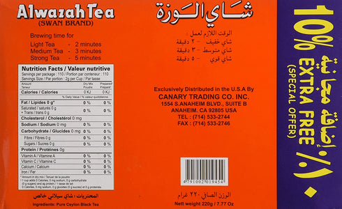 Alwazah Tea, 100% Pure Ceylon, 110-bags Pack of 2- Total of 220 Tea Bags