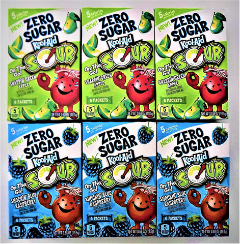 Image of Kool-Aid On The Go! Zero Sugar Bundle 6 Flavored Drink Mix 3 Each Flavor Sour Apple & Sour Blue Raspberry