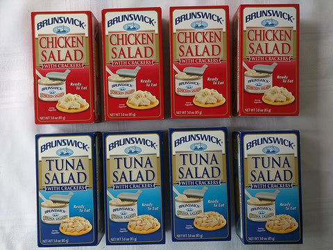 Image of Brunswick Tuna Salad & Chicken Salad With Crackers Ready to Eat Snack Kit 3.0 oz Each (8 ct)