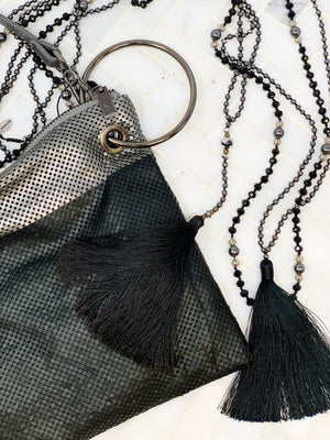 ABBACINO BLACK WIRE MESH BAG