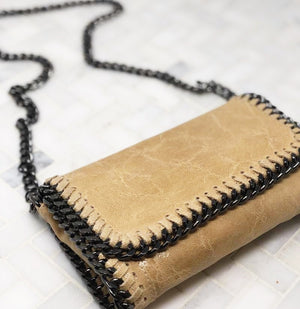 ITALIAN LEATHER AND CHAIN CROSSBODY