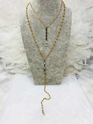ANNA GUNMETAL MARQUEE Y NECKLACE