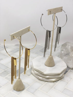 CHAIN FRINGE HOOP POST EARRINGS