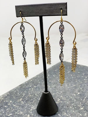 ANNA GUNMETAL MARQUEE EARRINGS