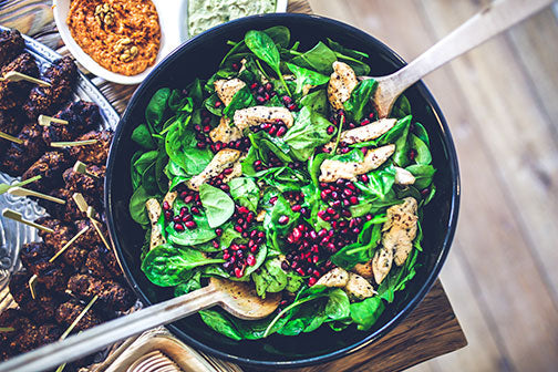 Chicken Spinach and Pomegranate Salad with Honey Lemon Vinaigrette