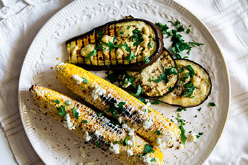 Elote (Mexican Street Corn) with Grilled Eggplant and Mustard Vinaigrette