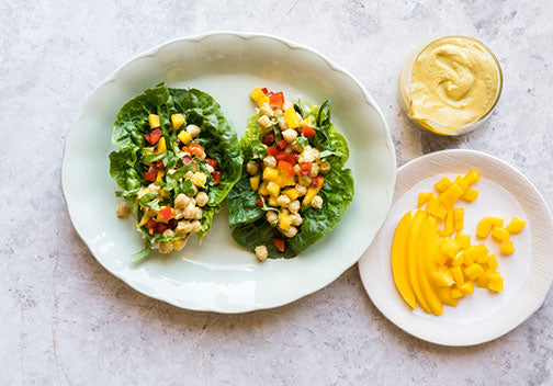 Mango Chickpea Salad Cups with Curry Tahini Dressing