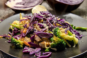 Chicken, Cabbage and Broccoli Stir-Fry with Rice Noodles