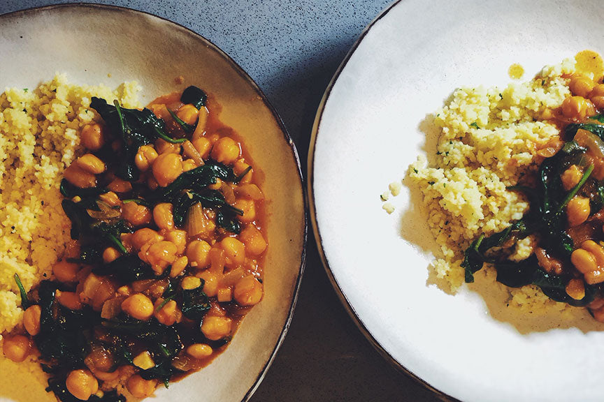 Chickpeas with Spinach and Couscous