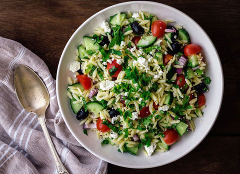 Mediterranean Orzo Salad with Tomato and Feta