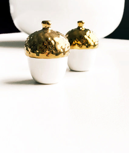 Gold Acorn Salt and Pepper Shakers