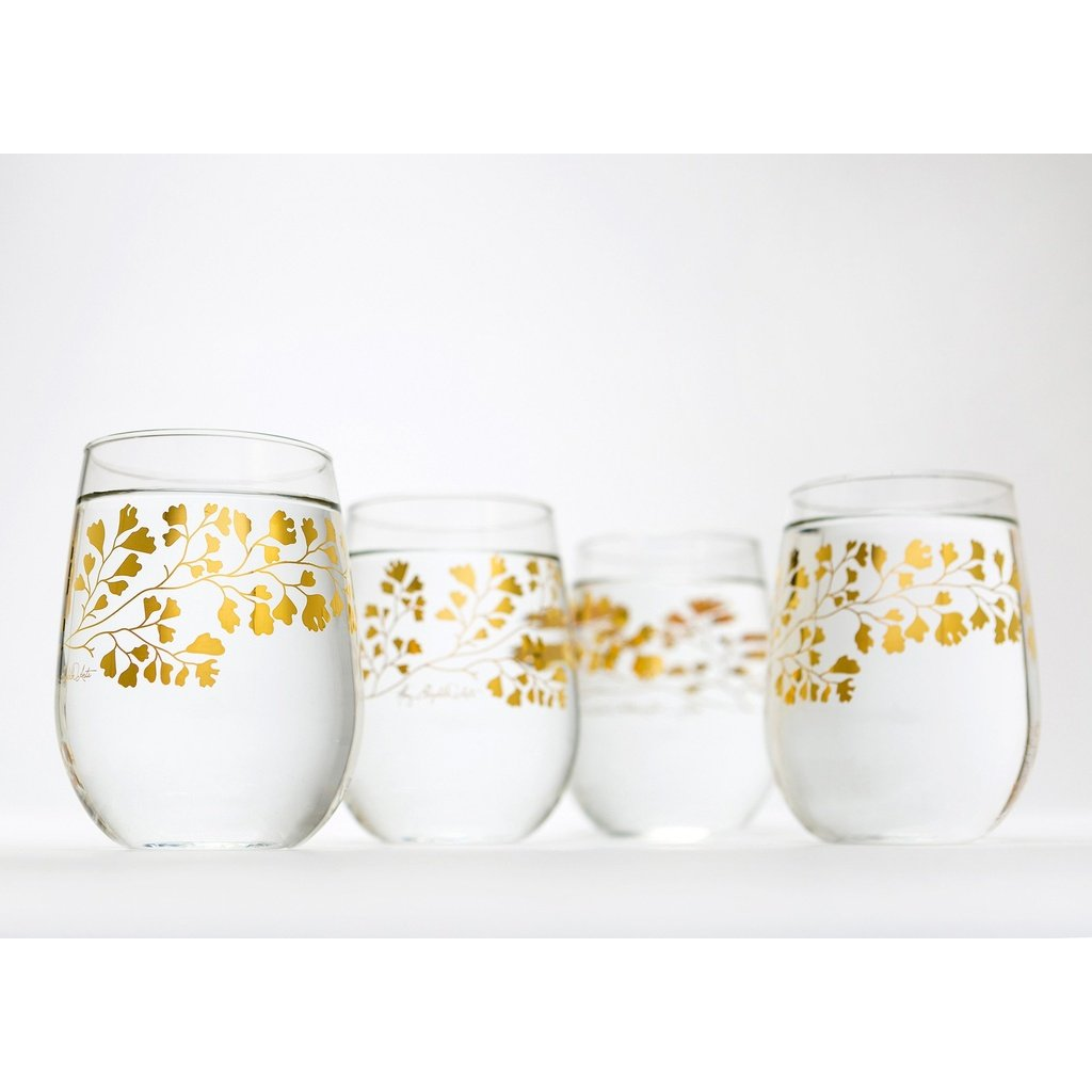Gold Flower Glassware