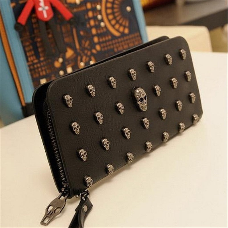 Punk Black PU Leather Skull Wallet