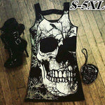 Fashion Sleeveless Skull Print Shirt