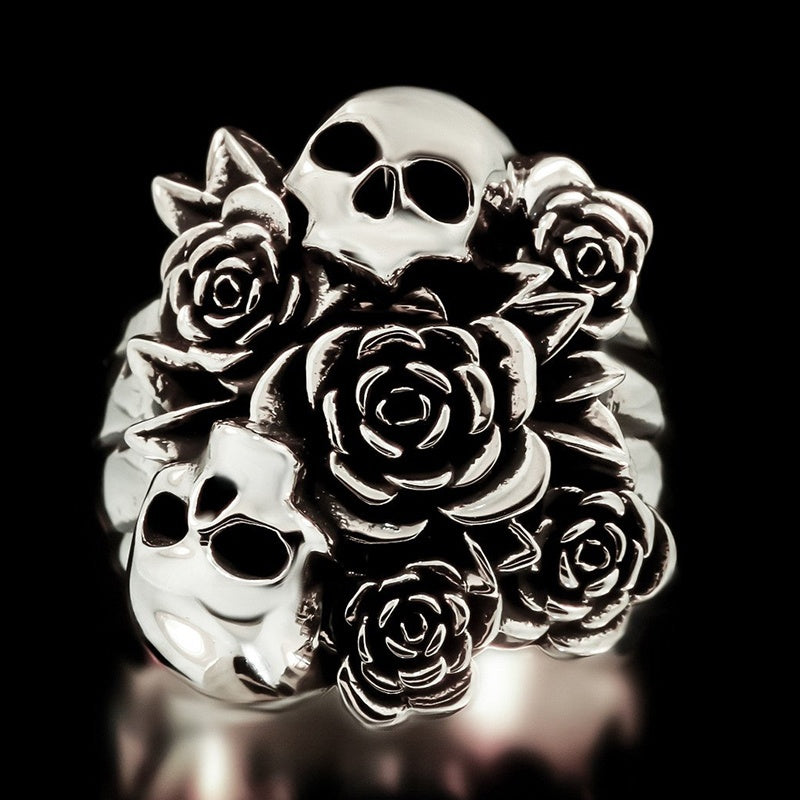 Punk Rose and Skull Ring