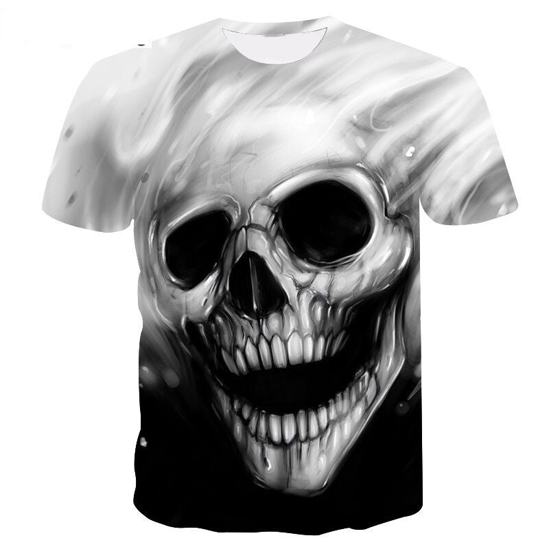 Casual 3D Skull Graphic T-Shirt