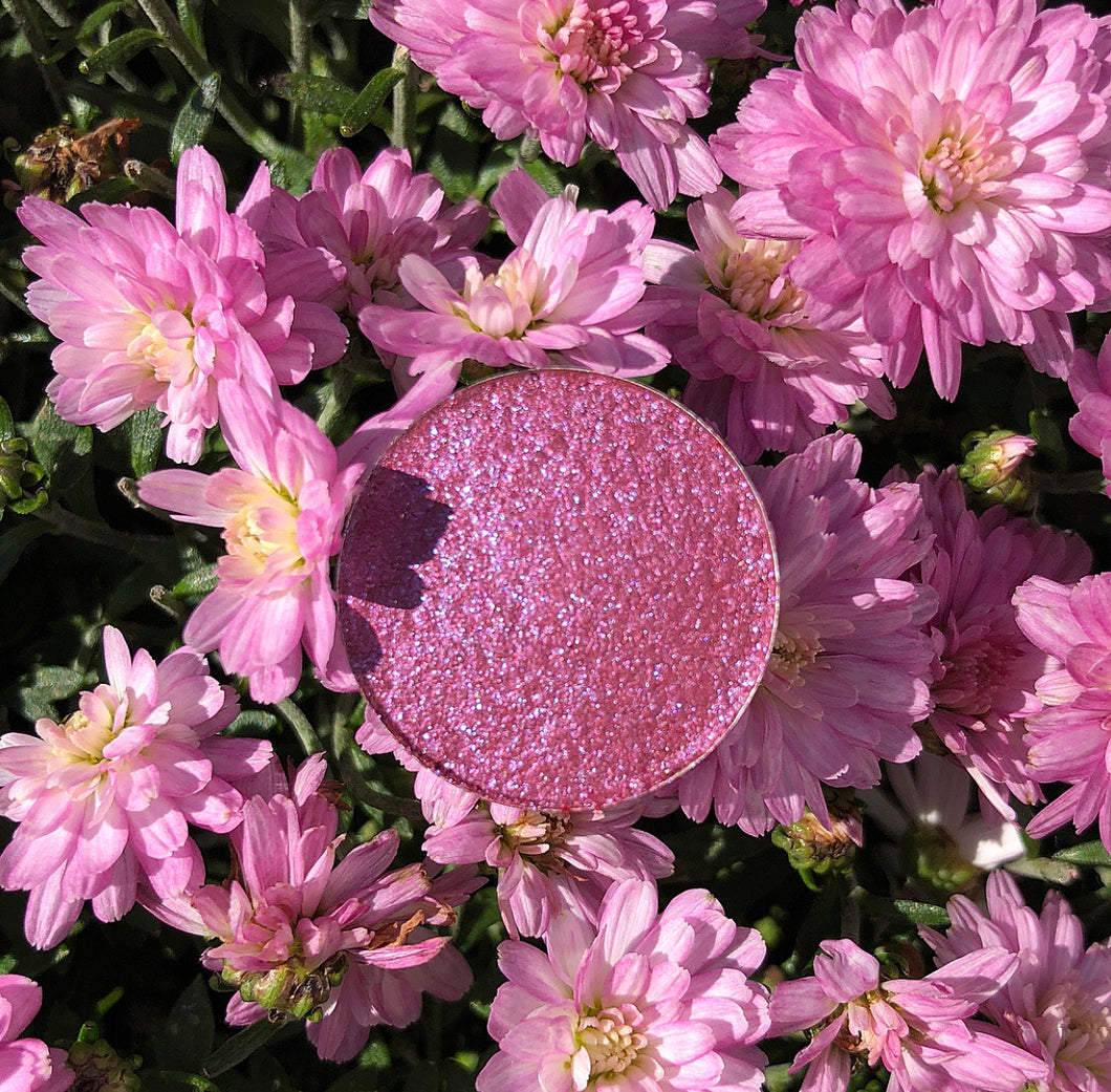 Purple pink eyeshadow shimmer shine gloss on pink flowers summer sun