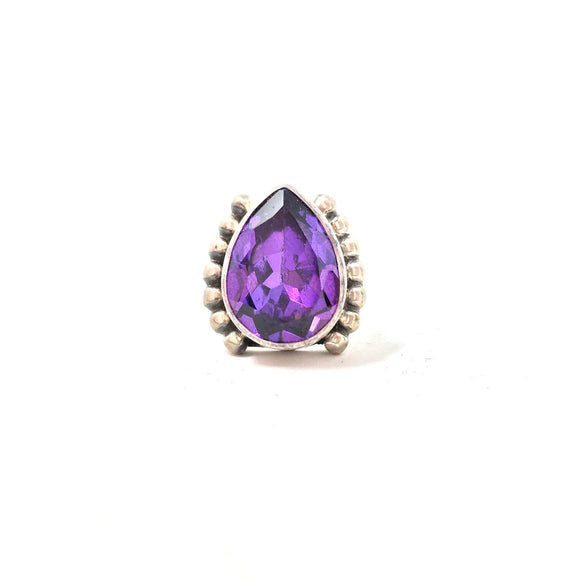 Very Large Amethyst Teardrop Ring, size 9
