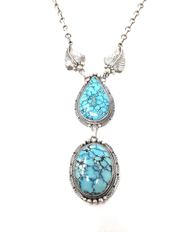 Turquoise Two Stone Drop Pendant Necklace