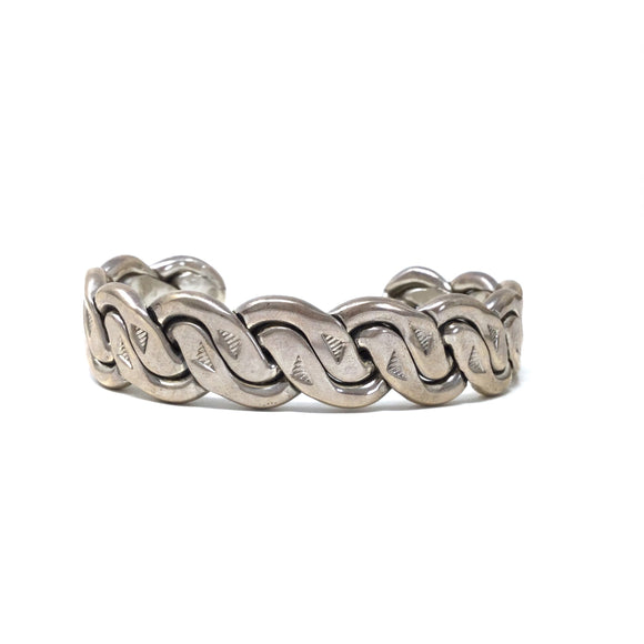 Braided and Stamp Detailed Cuff Bracelet