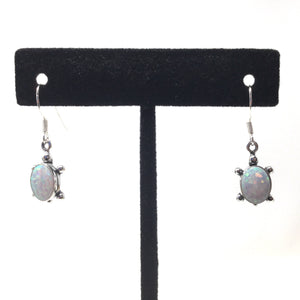 White Opal Turtle Earrings