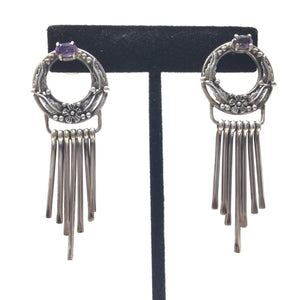 Ornate Floral Amethyst Fringe Earrings