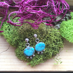 Small Dangle Turquoise Post Earrings