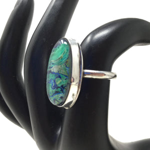 Azurite Malachite Lace Ring, size 6