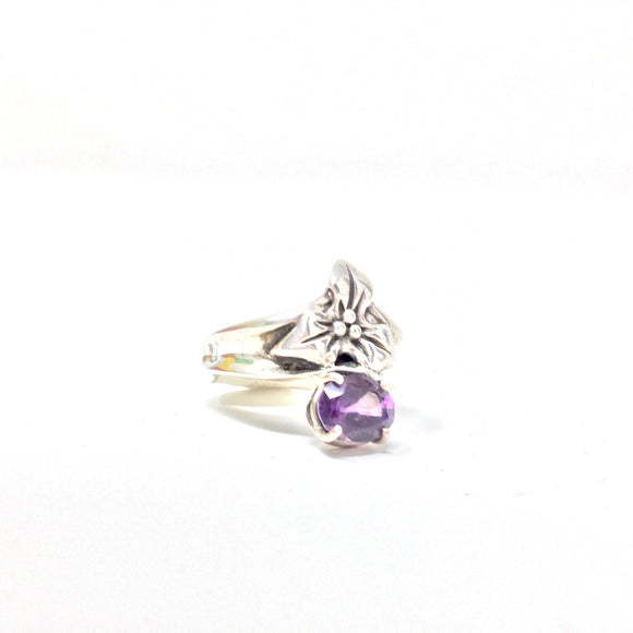Amethyst and Flower Ring, size 7