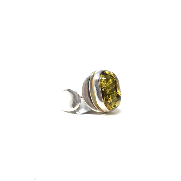 Green Amber Modern Ring, size 8-9