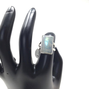 Rectangle Moonstone Ring, size 6