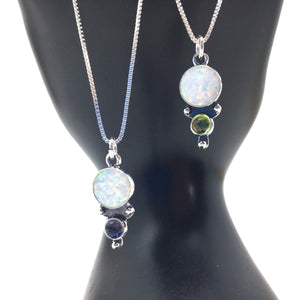 Two Stone Round Opal Pendant with Chain