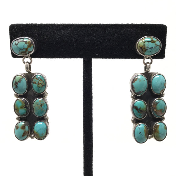 Contemporary Multistone Turquoise Post Earrings