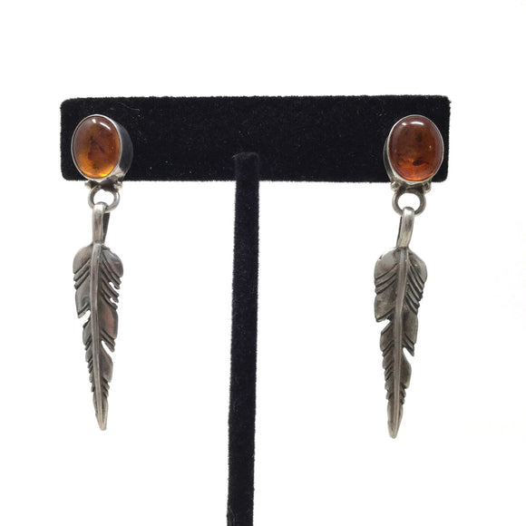 Baltic Amber Feather Earrings