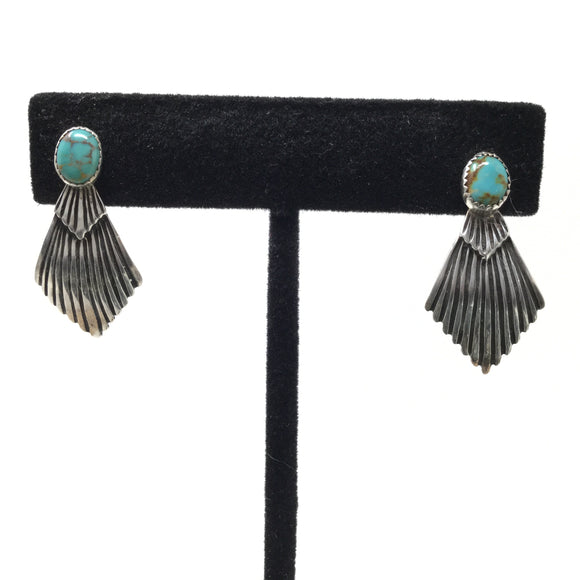 Art Deco Style Turquoise Post Earrings