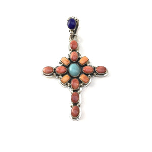 Spiny Oyster Shell and Turquoise Cross Pendant