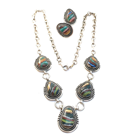 Rainbow Calsilica Necklace and Earring Set