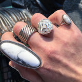 Howlite Shield Ring, size 9.5