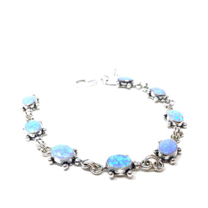 Blue Opal Turtle Tennis Bracelet