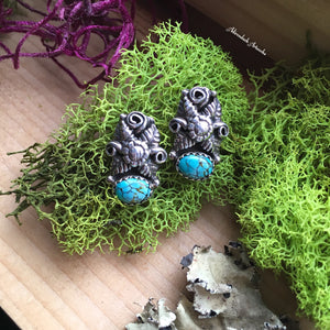 Turquoise and Flower Post Earrings