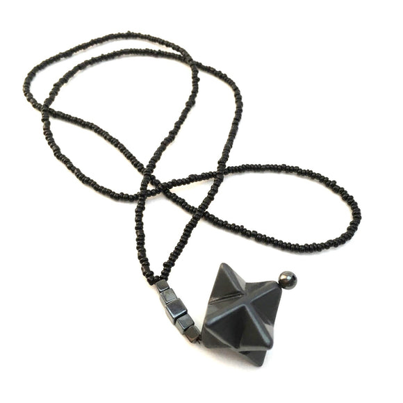 Beaded Hematite and Obsidian Merkaba Necklace